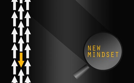 Yellow arrow changing direction, new mindset concept, 3D rendering