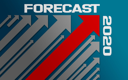 Forecast 2020 concept with red arrow, 3D rendering