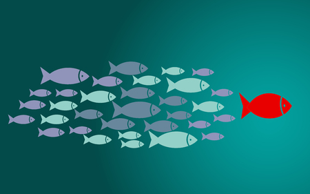 Leadership concept with small fishes group, 3D rendering Stockfoto