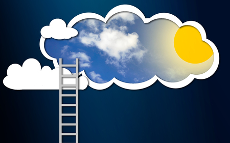 Ladder into the sunny sky, 3D rendering Stockfoto - 115836951