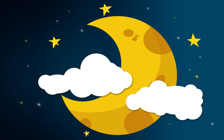 Crescent moon and clouds in the night sky, 3D rendering