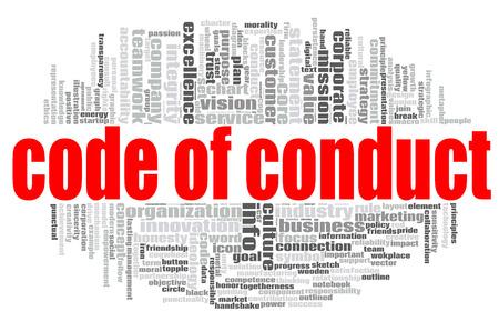 Codice di condotta word cloud concetto su sfondo bianco, rendering 3D.