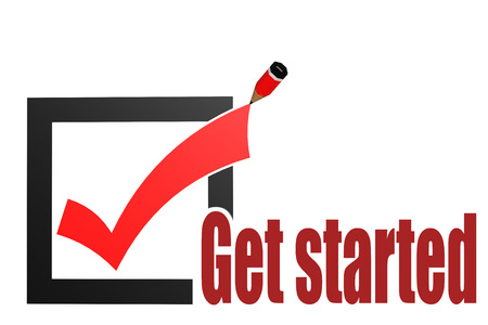 Get started word with check mark and pencil, 3D rendering
