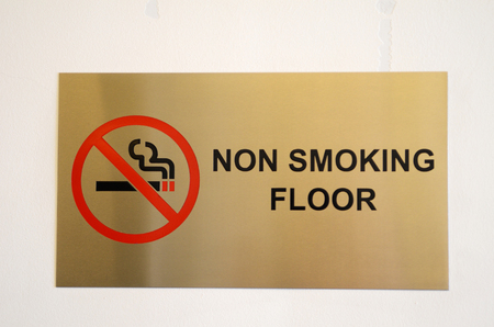 No smoking floor sign on a hotel