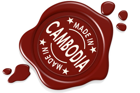 Label seal of made in Cambodia isolated on white background, 3D rendering Stok Fotoğraf