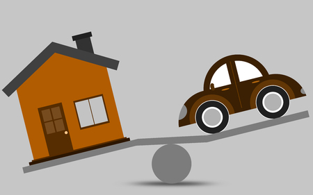 Balance concept of a house and a car, 3D rendering Stok Fotoğraf