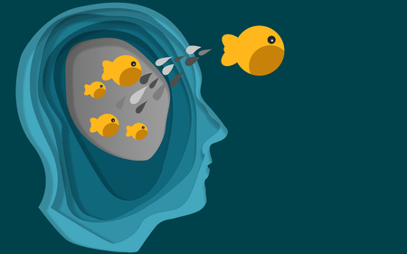 Fish jump out from human head, 3D rendering