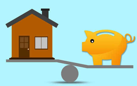 Scale with piggy bank and house, 3D rendering Foto de archivo