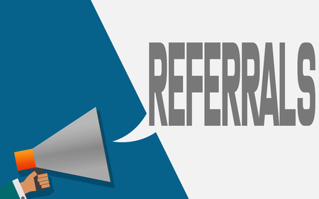 Megaphone with referrals speech bubble, 3D rendering Foto de archivo