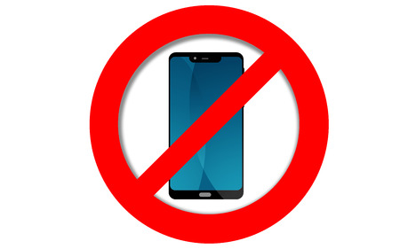 Do not use mobile phone sign, 3D rendering