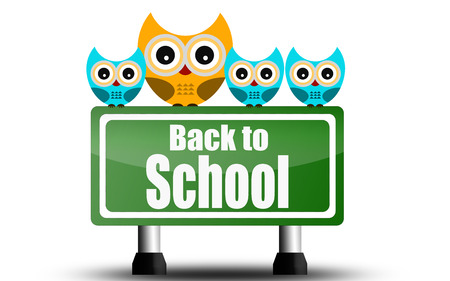 Back to school road sign with cute owls, 3D rendering