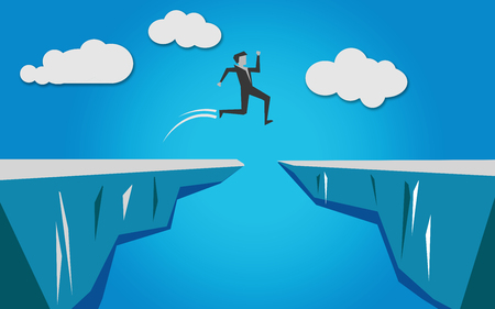 Man jumping over an abyss, 3D rendering 版權商用圖片