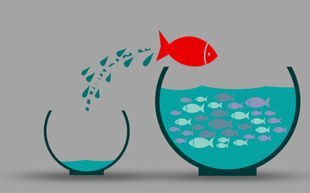 Fish escape the empty fishbowl, 3D rendering