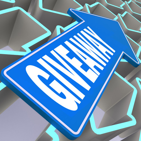 Giveaway word with blue arrow, 3D rendering