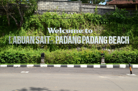 Welcome to Labuan Sait Padang Padang Beach sign in Bali, Indonesia