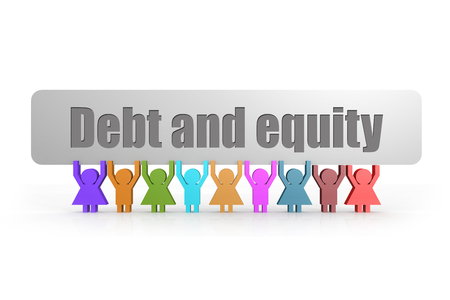 Debt and equity word on a banner hold by group of puppets, 3D rendering