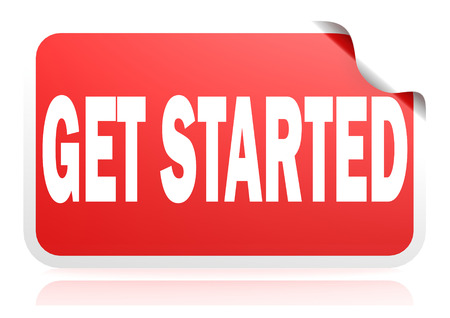 Get started red square banner, 3D rendering