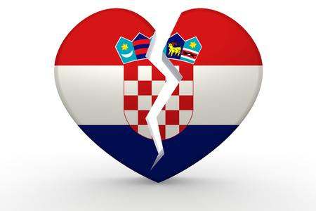 Broken white heart shape with Croatia flag, 3D rendering