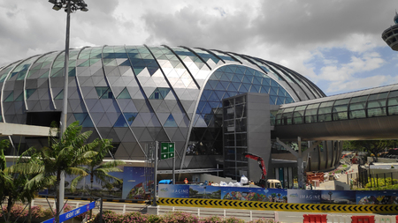 SINGAPORE- 14 FEB, 2019: View of Jewel Changi Airport in Singapore. This is a mixed-use development at Changi Airport in Singapore