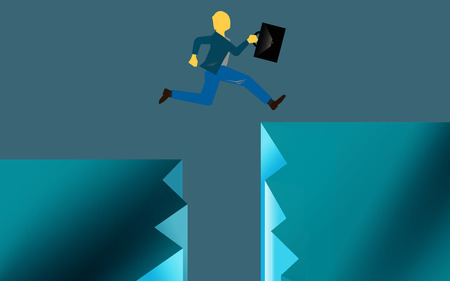 Taking risk jumping over gap Stockfoto