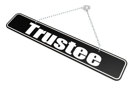 Trustee word hang on the banner on wall, 3D rendering Фото со стока
