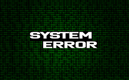 System error on binary code background