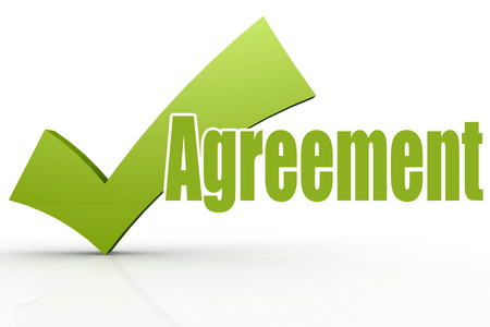 Agreement word with green checkmark, 3D rendering