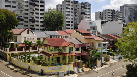 SINGAPORE-24 MAR, 2019: Typical Singapore high rise housing estate and landed property. Singapore imposed cooling measures on its property market to curb the steep rise