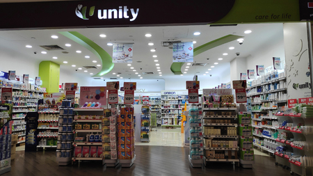 SINGAPORE-24 MAR, 2019: Unity Pharmacy shop in Singapore. Unity Pharmacy was founded in 1992 to affordable range of healthcare and pharmacy products. Editorial