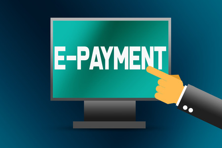E-payment word on computer screen