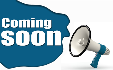 Coming soon word with megaphone