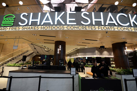 SINGAPORE, 11 Apr, 2019:  Famous New York burger chain Shake Shack has opened its first outlet in Singapore at Jewel Changi Airport Editorial