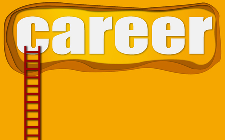 Red ladder to career word, 3d rendering