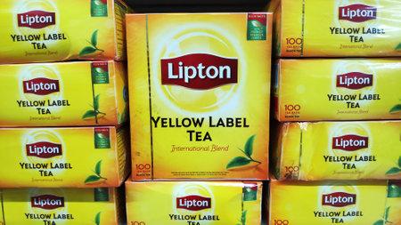 JOHOR BAHRU, MALAYSIA- 21 APR, 2019: Packs of tea Lipton sold in store in Johor Bahru, Malaysia. Lipton is a world famous brand of tea Editorial