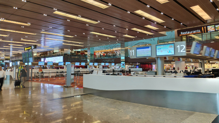 SINGAPORE, 11 Apr, 2019: Interior of Terminal 1 in Changi Airport Singapore . Singapore Changi Airport is the primary civilian airport for Singapore and one of the largest transportation hubs in Southeast Asia