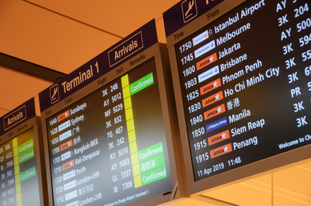 SINGAPORE, 11 Apr, 2019: Arrival Board in Changi Airport. Changi Airport is one of the largest transportation hubs in Asia and serves more than 100 airlines. 報道画像