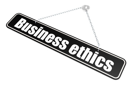 Business ethics word hang on the banner on wall, 3D rendering