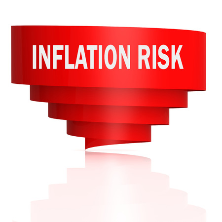 Inflation risk word with red curve banner, 3D rendering Stok Fotoğraf