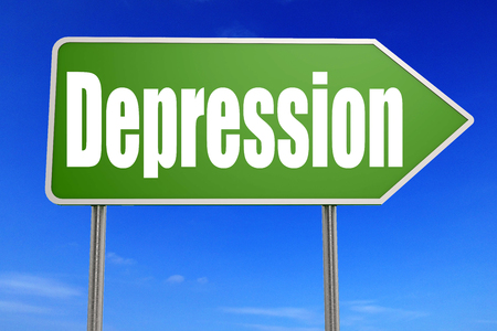 Depression word on green road sign, 3D rendering