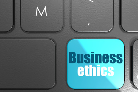 Business ethics word on square keyboard button, 3D rendering