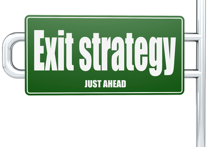 Exit strategy word on green road sign, 3D rendering