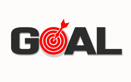 Goal word with targets and arrows, 3D rendering