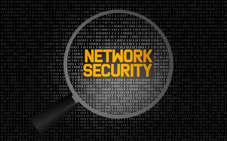 Netzwerksicherheitswort mit Lupe, 3D-Rendering Standard-Bild