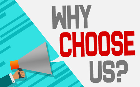 Megaphone with Why choose us speech bubble, 3D rendering
