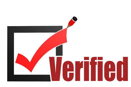 Verified word with check mark and pencil, 3D rendering