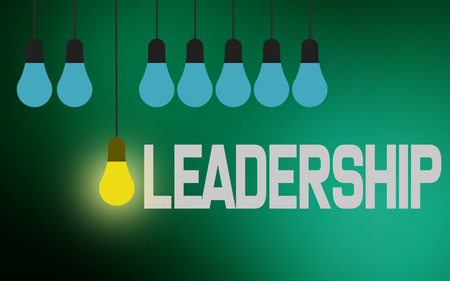 Leadership word with lighting bulb, 3d rendering 스톡 콘텐츠