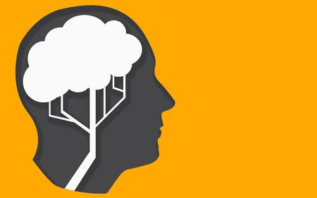 Human head and tree brain shape, 3D rendering