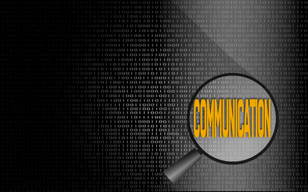 Communication word with binary background, 3D rendering
