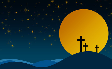 Cross on the mountain with full moon, 3D rendering
