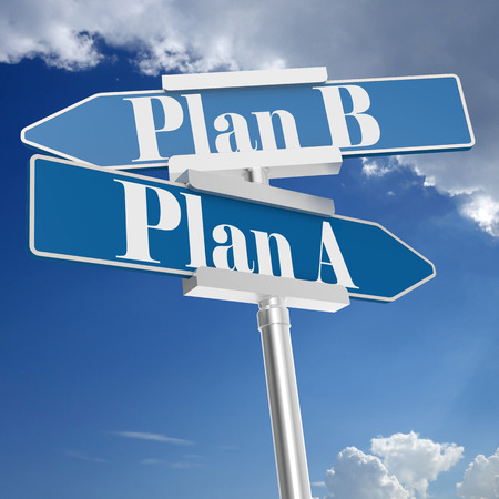 Plan a and plan b signs with blue sky, 3D rendering